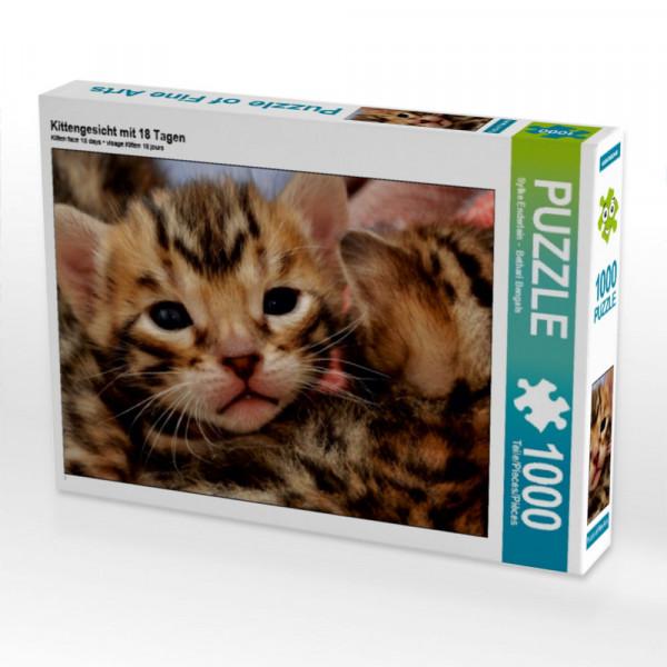 Puzzle Kittengesicht mit 18 Tagen