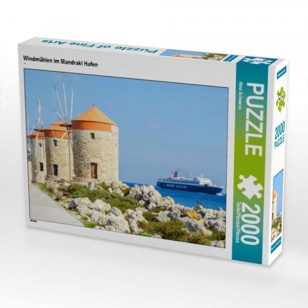 Puzzle Windmühlen im Mandraki Hafen Foto-Puzzle Bild von Schwarze Nina
