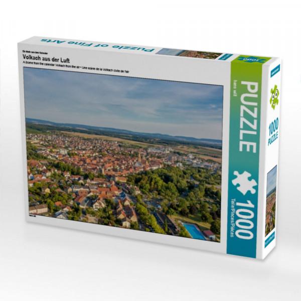 Puzzle Volkach aus der Luft mit Schwimmbad und Altstadt