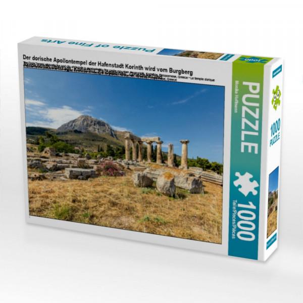Puzzle Der dorische Apollontempel der Hafenstadt Korinth wird vom Burgberg Akrokorinth überragt Korinthia Peloponnes Griechenland