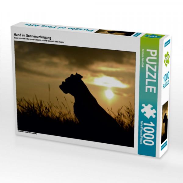 Puzzle Hund im Sonnenuntergang