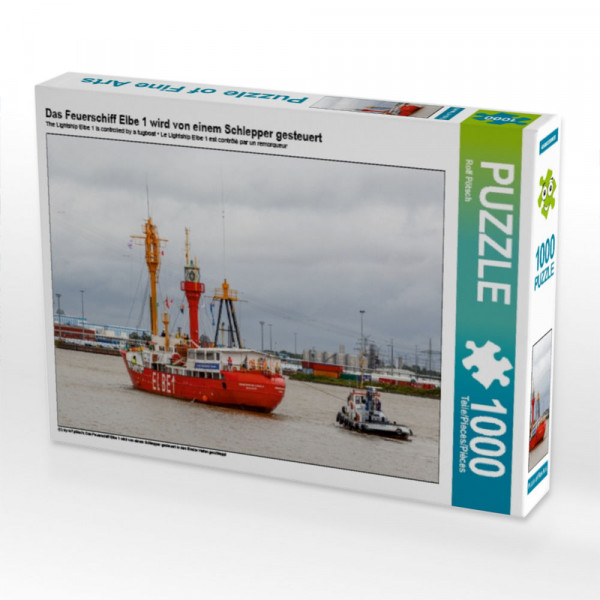 Puzzle Das Feuerschiff Elbe 1 wird von einem Schlepper gesteuert