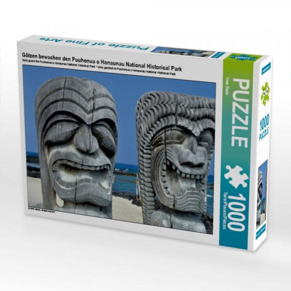 Puzzle Götzen bewachen den Puuhonua o Honaunau National Historical Park