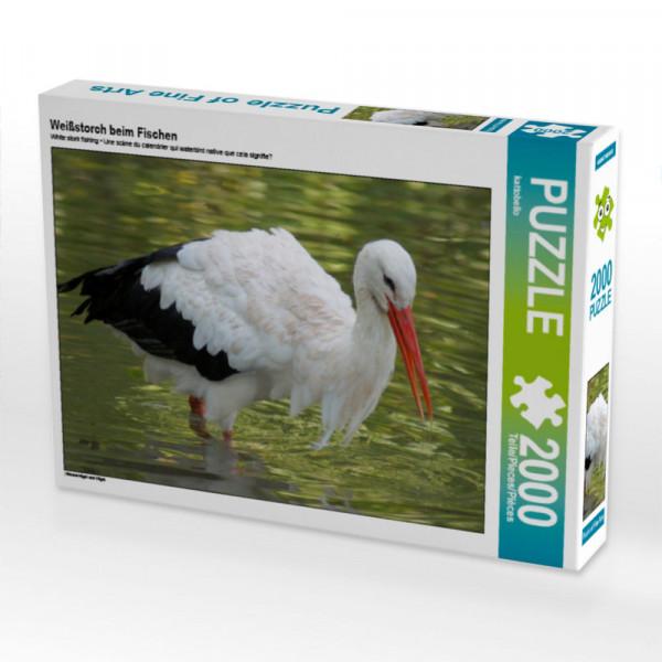 Puzzle Weißstorch beim Fischen Foto-Puzzle Bild von
