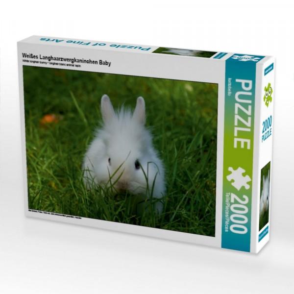 Haustier Puzzle Weißes Langhaarzwergkaninchen Baby 2000 Teile Puzzle quer Motiv 1 Bild 1