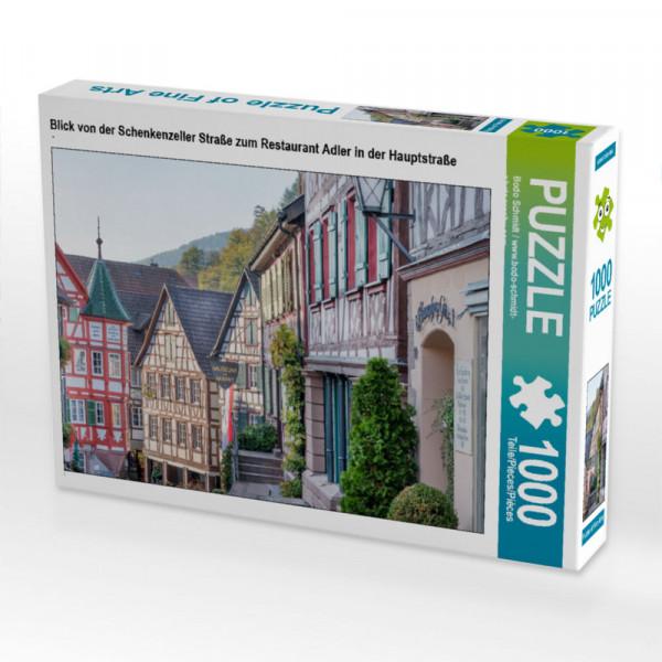 Puzzle Blick von der Schenkenzeller Straße zum Restaurant Adler in der Hauptstraße