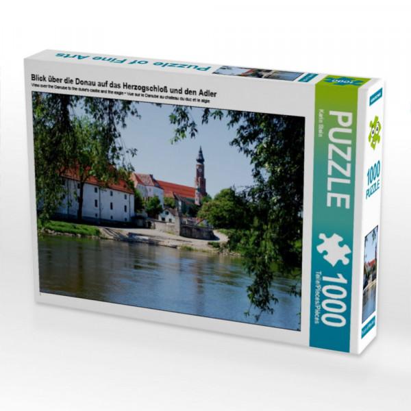Puzzle Blick über die Donau auf das Herzogschloß und den Adler