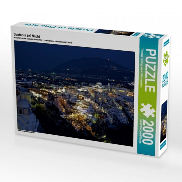 Inselhauptstadt Fira Puzzle Santorini bei Nacht 2000 Teile Puzzle quer Motiv 1 Bild 1