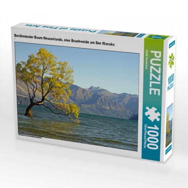 Puzzle Berühmtester Baum Neuseelands eine Bruchweide am See Wanaka