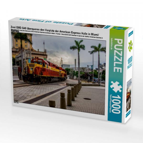 Puzzle Zwei EMD G40 überqueren den Vorplatz der American Express Halle in Miami/Florida
