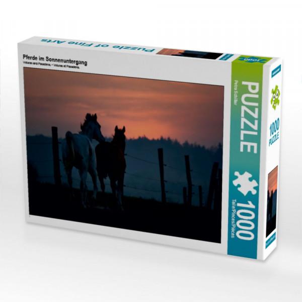 Puzzle Pferde im Sonnenuntergang