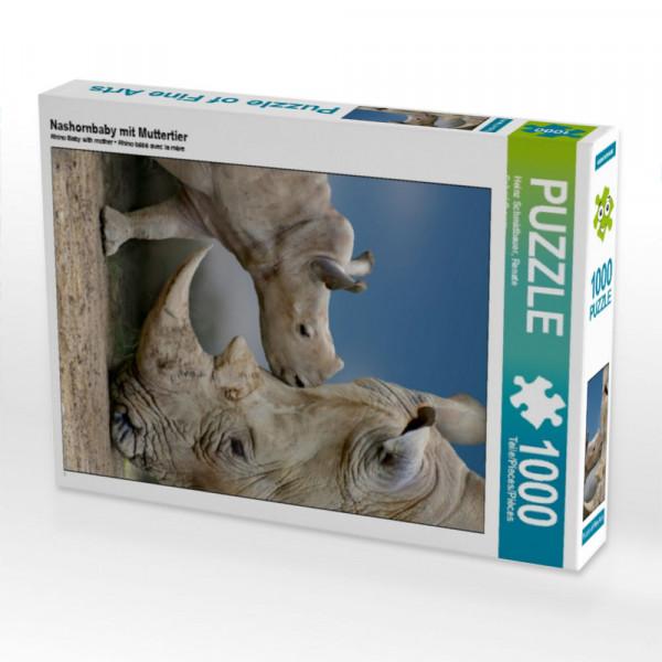 Puzzle Nashornbaby mit Muttertier