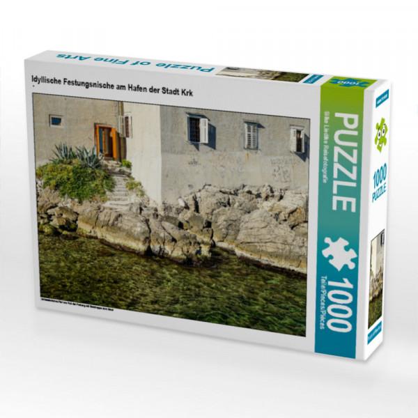 Puzzle Idyllische Festungsnische am Hafen der Stadt Krk