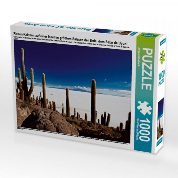 Puzzle Riesen-Kakteen auf einer Insel im größtem Salzsee der Erde dem Salar de Uyuni