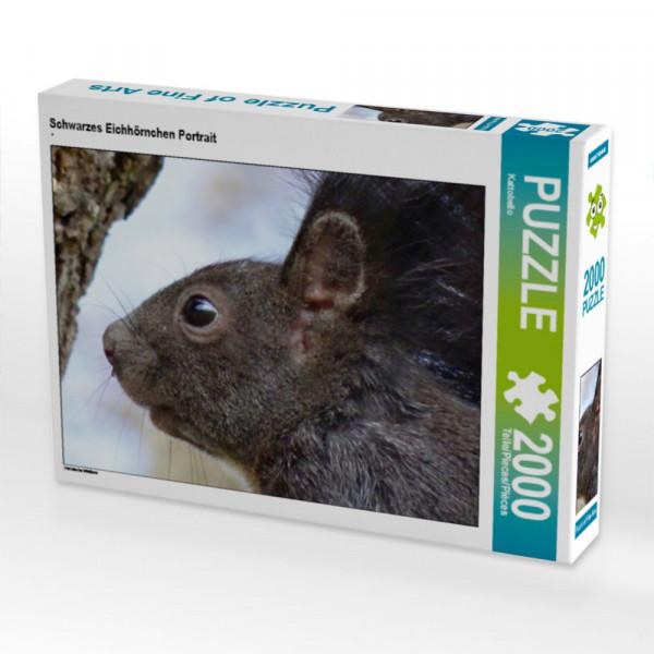 Puzzle Schwarzes Eichhörnchen Portrait Foto-Puzzle Bild von