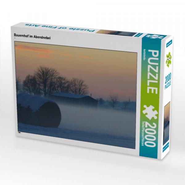 Puzzle Bauernhof im Abendnebel Foto-Puzzle Bild von