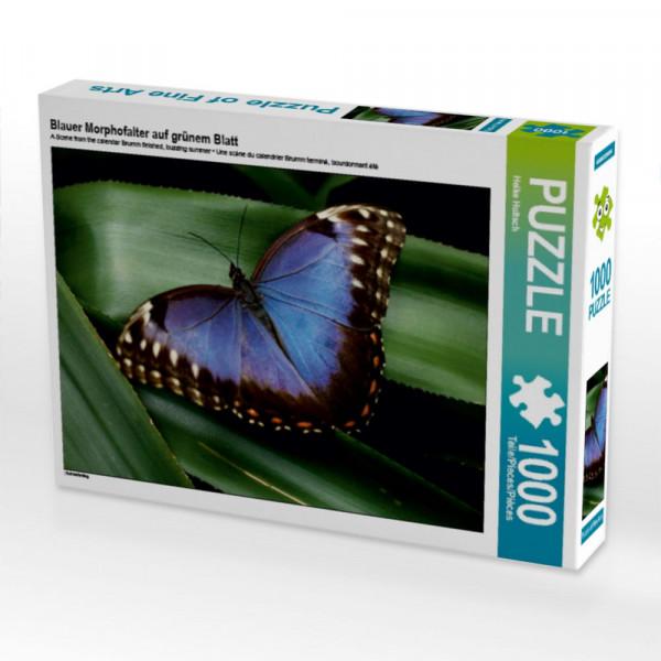 Puzzle Blauer Morphofalter auf grünem Blatt